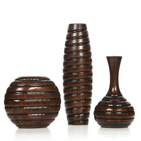 Image of Hosley's Set of 3 Wood Vases