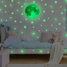 Load image into Gallery viewer, MAFOX Glow in the Dark Wall or Ceiling Stars with Moon Stickers – Luminous Decal Stickers for Simulated...