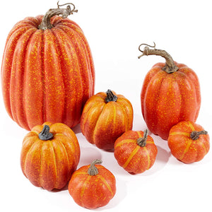 Assorted Sizes Rustic Harvest Fake Artificial Pumpkins (7pcs)