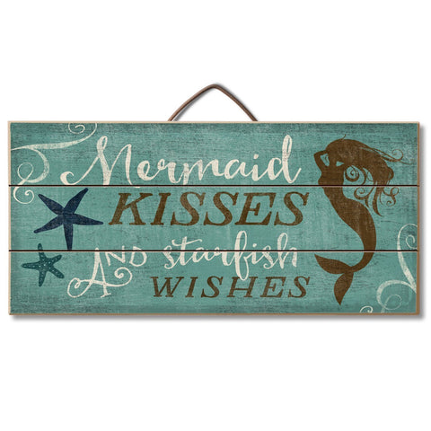 "Image of Highland Graphics Beach Decor Wood Sign Reads ""Mermaid Kisses and Starfish Wishes"" Table or Wall Decor"