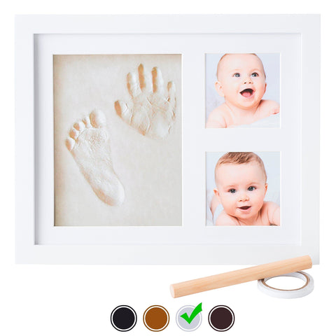 Image of Baby Handprint Kit by Little Hippo - NO MOLD! Baby Picture Frame (WHITE) & Non Toxic CLAY! Unique...
