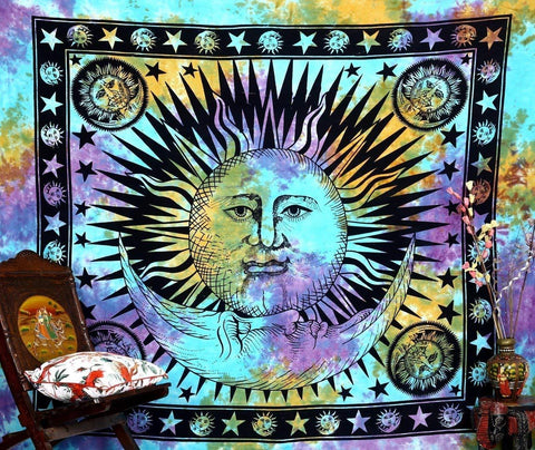 Psychedelic Celestial Indian Sun Hippie Hippy Tapestry Wall Hanging Throw Tie Dye Hippie Hippy Boho Bohemian Tye Die Hand-loomed Window Doorway Door Curtain, Size: L-92 X W-85 Inches - zingydecor