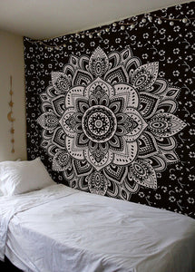 "Golden Ombre Tapestry by Labhanhi"" Ombre Bedding , Mandala Tapestry, Queen, White Color Indian Mandala Wall Art Hippie Wall Hanging Bohemian Bedspread"