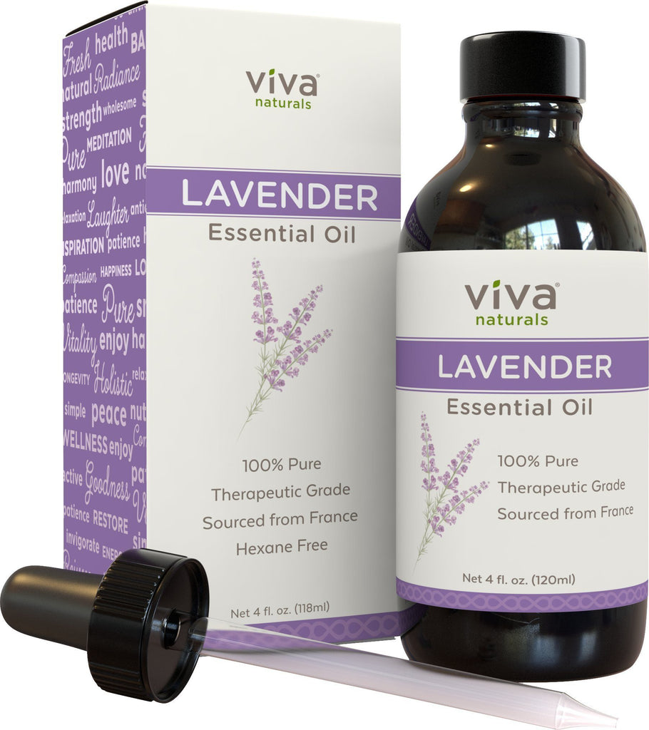 Viva Naturals French Lavender Essential Oil, 4 fl oz - 100% Pure & Therapeutic Grade for Relaxation,...