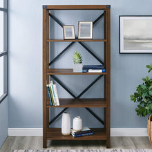 "Load image into Gallery viewer, WE Furniture Farmhouse 4-Shelf Bookcase with Open Storage, 64"" H, Dark Walnut - zingydecor"