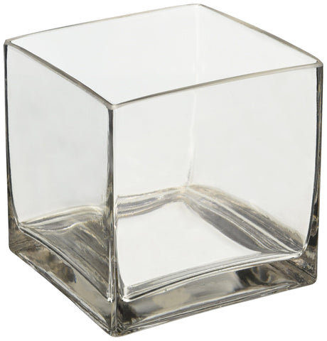 "Image of 6"" Square Glass Vase - 6 Inch Clear Cube Centerpiece - 6x6x6 Candleholder - zingydecor"