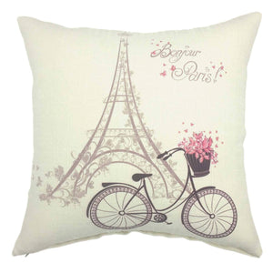 YOUR SMILE-Paris Rustic Cycle Cotton Linen Square Cushion Covers Throw Pillow Covers Decorative 18 x 18 - zingydecor