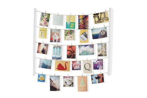 Image of Umbra Hangit Photo Display - DIY Picture Frames Collage Set Includes Picture Hanging Wire Twine Cords, Natural Wood Wall Mounts and Clothespin Clips for Hanging Photos, Prints and Artwork
