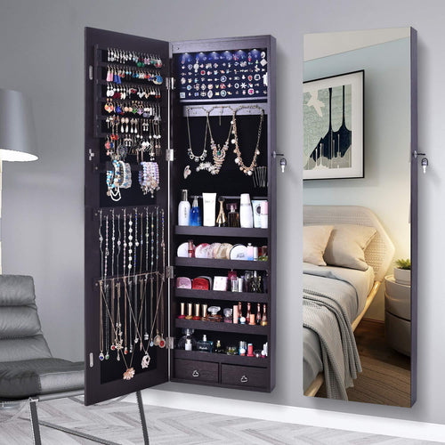 Jewelry Organizer Jewelry Cabinet,Full Screen Display View Larger Mirror, Full Length Mirror,Large Capacity Dressing Mirror Makeup Jewelry Armoire(Brown & LED)