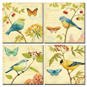 Bird and flower Painting 4 pcs Wall Art Lanscape Painting Print on Canvas Wall Decoration Wrapped with Wooden Frame Ready to Hang - zingydecor