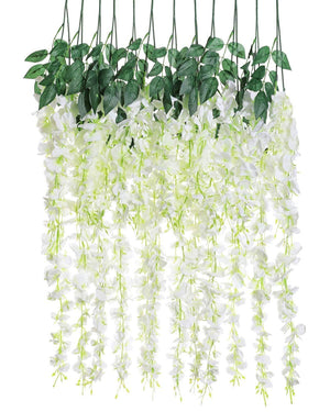 Luyue 3.18 Feet Artificial Silk Wisteria Vine Ratta Silk Hanging Flower Wedding Decor, 6 Pieces,White (White)