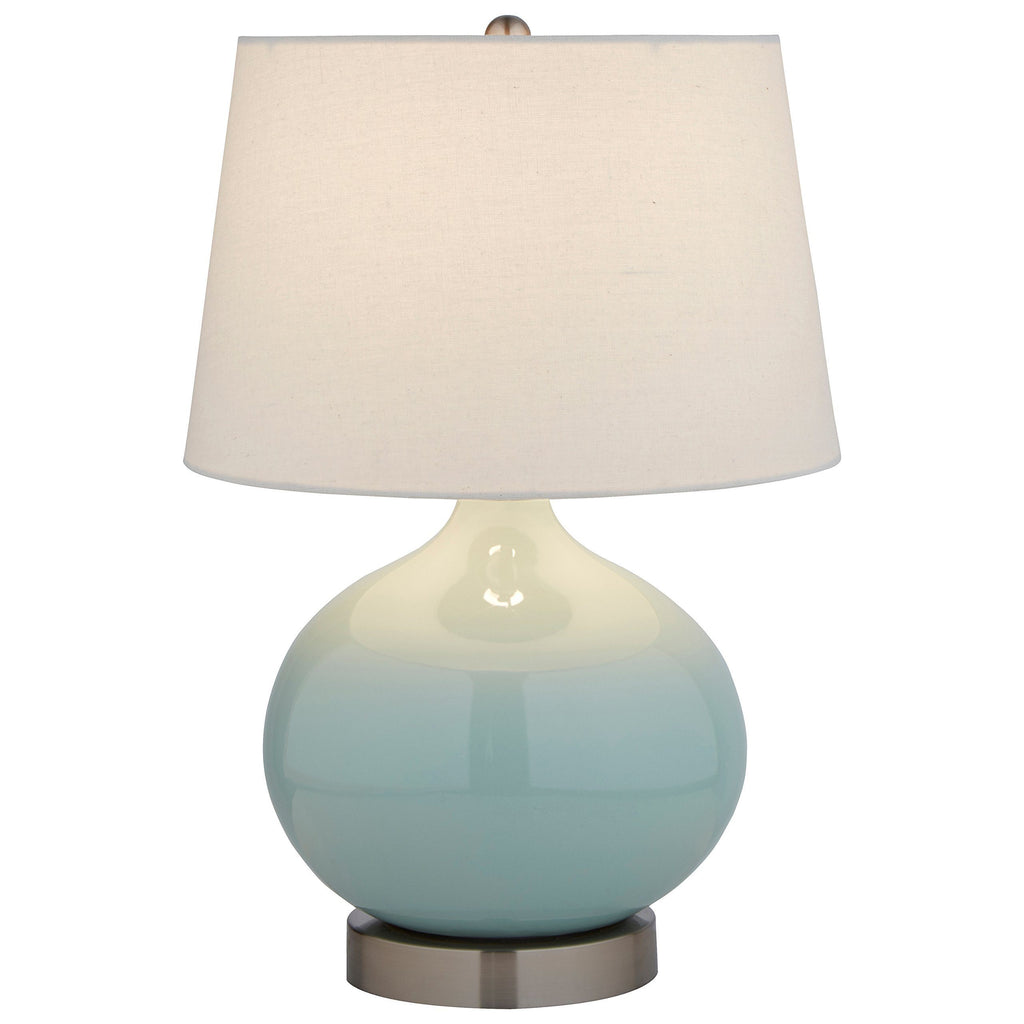"Stone & Beam Light Blue Ceramic Lamp, 20""H, With Bulb, White Shade"