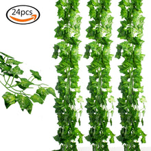 Load image into Gallery viewer, 24pcs (157 Feet) Artificial Greenery Fake Ivy Leaves Garland Hanging for Wedding Party Garden Wall Decoration - zingydecor