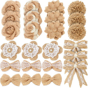 LEOBRO 24PCS Burlap Flowers, 8 Styles Natural Handmade Rustic Rose Flower Bowknot with Faux Pearls for DIY Craft Bouquets Home Wedding Christmas Party Decoration - zingydecor