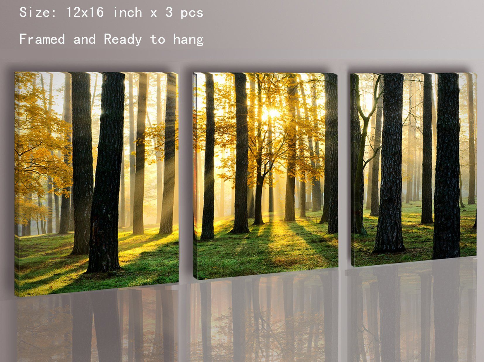 Canvas Prints 3 Panels Framed Ready to Hang Modern Landscape Canvas Wall  Art , High Quality Oil Painting Print Wall Decoration