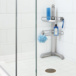 Corner Shelf, Rust-Proof Stainless Steel and Anodized Aluminum, Shower Caddy, Silver