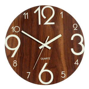 Genbaly Luminous Wall Clock, 12 inch Wooden Silent Non-Ticking Kitchen Wall Clocks with Night Lights for Indoor/Outdoor Living Room Bedroom Decor Battery Operated (Wood Color) - zingydecor
