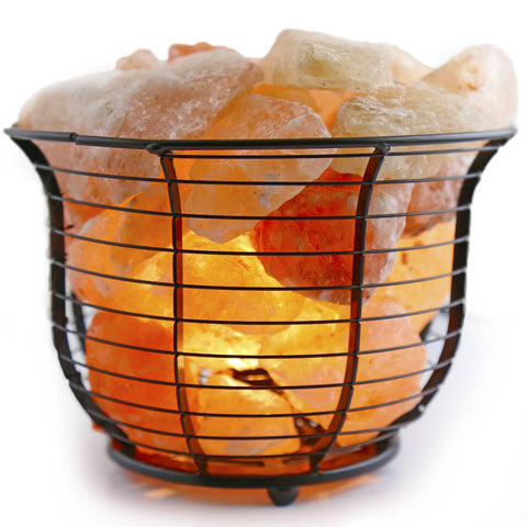 Image of Crystal Allies Gallery: Natural Himalayan Salt Wire Mesh Basket Lamp w/ Dimmable Switch, 6ft UL-Listed Cord and 15-Watt Light Bulb