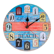 Load image into Gallery viewer, Wall Clock Decorative Silent Wall Clock Non Ticking Ocean Theme White Wall Clocks 12-Inch for Bedroom Living Room Bathroom Decorations (Lighthouse)