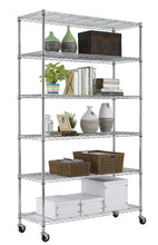 PayLessHere Chrome 6 Shelf Commercial Adjustable Steel shelving systems On wheels wire shelves, shelving unit or garage shelving, storage racks