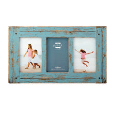 "Load image into Gallery viewer, Prinz 3 Opening Homestead Antique Wood Collage Frame, 4 x 6"", Blue - zingydecor"
