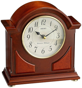 Seiko Mantel Chime Clock Brown Wooden Case - zingydecor