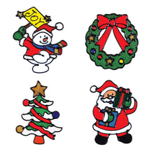 Load image into Gallery viewer, Giraffe Manufacturing Christmas Decorations – Holiday Window Sticker Clings - 12 Pack - Santa Claus, Snowman & Many More - zingydecor
