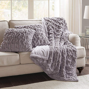 Comfort Spaces Faux Fur Throw Blanket Set – Fluffy Plush Blankets for Couch and Bed – Ivory Size 50