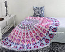 Popular Hippie Mandala Bohemian Psychedelic Intricate Floral Design Indian Bedspread Magical Thinking Tapestry 84x54 Inches, (215x140cms) Blue Turquish By Popular Handicrafts - zingydecor