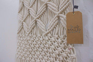 Gentle Crafts BoHo Macrame Hanging Wall Decor: Decorative Wall Art Cotton Rope Cord Woven Tapestry Home Decorations for the Living Room Kitchen Bedroom or Apartment - zingydecor