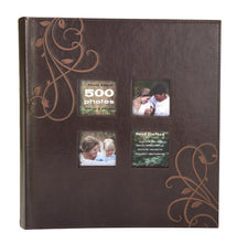 Load image into Gallery viewer, Kleer-Vu Photo Embroidery Leather Collection, Holds 500 4x6 inches Photos, 5 Per Page - Brown.