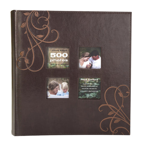 Image of Kleer-Vu Photo Embroidery Leather Collection, Holds 500 4x6 inches Photos, 5 Per Page - Brown.