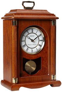 Seiko Mantel Chime with Pendulum Carriage Clock Dark Brown Solid Oak Case Metal Accents - zingydecor