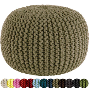 Hand Knitted Cable Style Dori Pouf Floor Ottoman - 100% Cotton Braid Cord - Handmade & Hand Stitched - Truly one of a Kind Seating - 20 Dia x 14 High - zingydecor