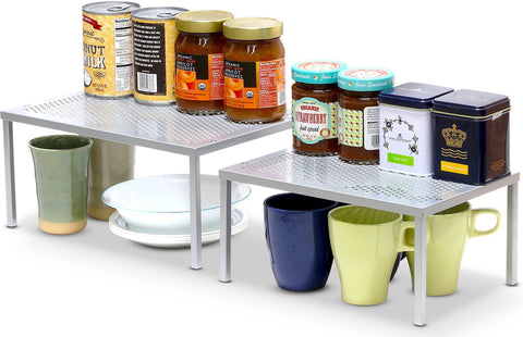 Image of SimpleHouseware Expandable Stackable Kitchen Cabinet and Counter Shelf Organizer, Silver