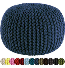 Load image into Gallery viewer, Hand Knitted Cable Style Dori Pouf Floor Ottoman - 100% Cotton Braid Cord - Handmade & Hand Stitched - Truly one of a Kind Seating - 20 Dia x 14 High - zingydecor