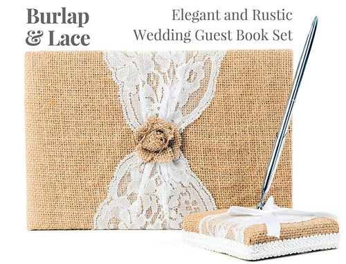 Rustic Wedding Guest Book Made of Burlap and Lace - Includes Matching Pen Holder and Silver Pen - 120 Lined Pages for Guest Thoughts - Comes in Gift Box (Burlap Bow with Pearl Center) - zingydecor