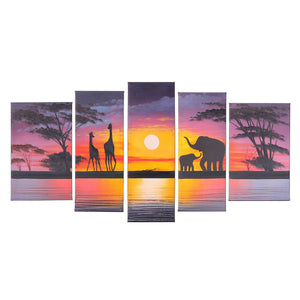 Hand Painted Modern Abtract Framed Canvas Wall Art Oil Paintings Sunset Ready to Hang for Living Room Wall Decor - zingydecor