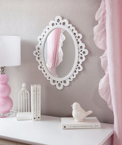 Decorative Oval Wall Mirror, White Wooden Frame for Bathrooms, Bedrooms, Dressers, and Antique Princess Décor, Medium - zingydecor