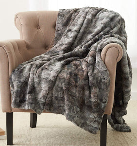 "Pinzon Faux Fur Throw Blanket 63"" x 87"", Frost Grey - zingydecor"