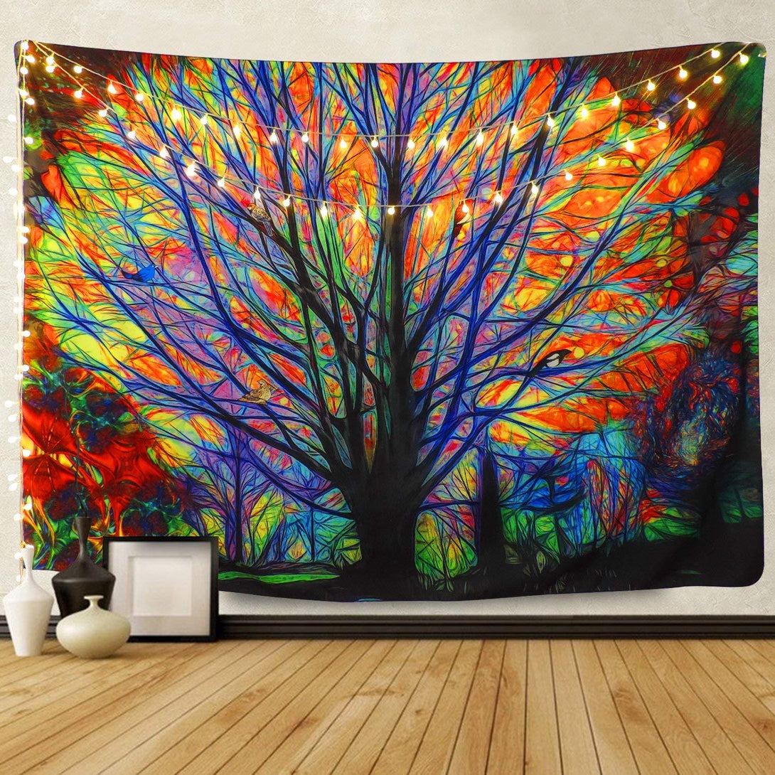 BLEUM CADE Colorful Tree Tapestry Wall Hanging Psychedelic Forest with Birds Wall Tapestry Bohemian Mandala Hippie Tapestry for Bedroom Living Room Dorm (The Tree, 51.2