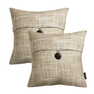 "Set of 2 Phantoscope Button Beige Linen Decorative Throw Pillow Case Cushion Cover 18""X18"" - zingydecor"