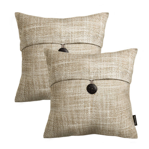 "Image of Set of 2 Phantoscope Button Beige Linen Decorative Throw Pillow Case Cushion Cover 18""X18"" - zingydecor"