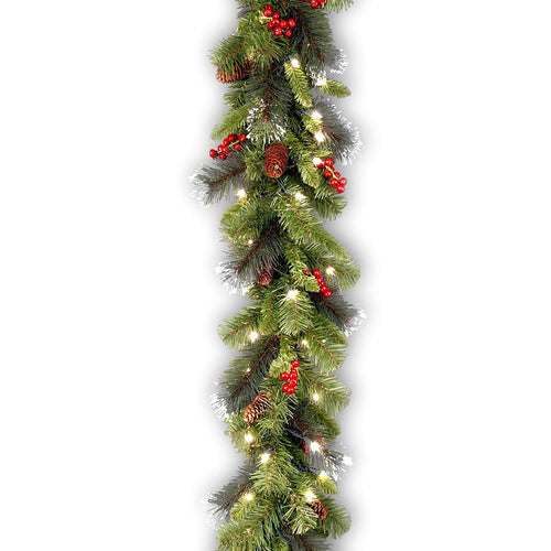 National Tree 9 Foot by 10 Inch Crestwood Spruce Garland with Silver Bristle, Cones, Red Berries and 50 Clear Lights