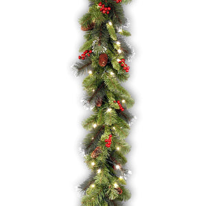 National Tree 9 Foot by 10 Inch Crestwood Spruce Garland with Silver Bristle, Cones, Red Berries and 50 Clear Lights - zingydecor
