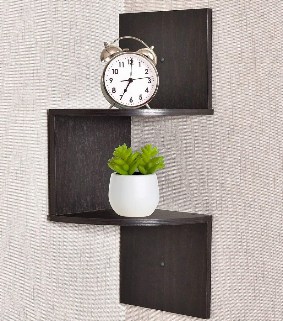 Greenco Zigzag 2 Tier Corner Floating Shelves, Espresso.