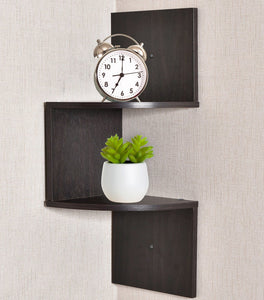 Greenco Zigzag 2 Tier Corner Floating Shelves, Espresso. - zingydecor