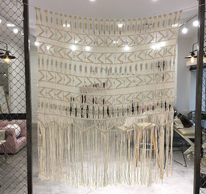 "Flber Macrame Wall Hanging Boho-Inspired Touch Window Curtain,52"" Wx56 H"
