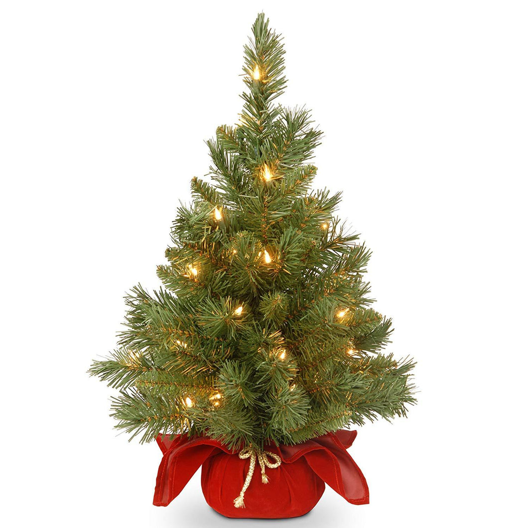 National Tree 24 Inch Majestic Fir Christmas Tree with 35 Clear Lights in Burgundy Cloth Bag - zingydecor