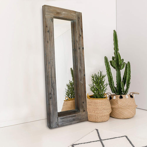 "Barnyard Designs Decorative Long Full Length Rectangular Floor or Wall Hanging Mirror, Rustic Vintage Farmhouse Wall Decor, Natural-Looking Unfinished Wood Framed Mirror, 58"" x 24"""